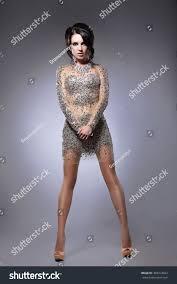 young woman short evening dress gold stock photo 493314922