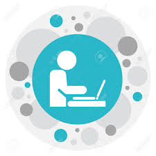 icon bureau vector illustration of bureau symbol on employee with computer