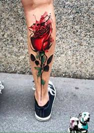 usual style painted and colored big rose tattoo on leg