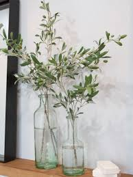 Large Round Glass Vase Entry Way Glass Vase With Olives Leaves Décor Tips Pinterest