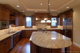 Granite Kitchen Design Traditional Medium Wood Brown Kitchen Cabinets From Kitchen