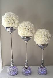 silver centerpieces wedding candle holder set of 3 silver bling rhinestone