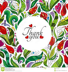Thank You Card Designs Thank You Card Design Hand Drawn Cute Flowers Colored Ornate
