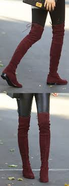 s high boots burgundy lacing back stretched suede the knee boots fall