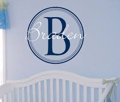 Monogram Wall Decals For Nursery Baby Boy Name Monogram Wall Decal Vinyl Nursery Decor 23 00 Via