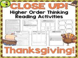 thanksgiving day reading passages with higher order thinking