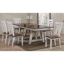 bernards winslow 7 piece two tone refectory table set wayside
