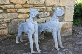 boxer dog yard art old lead work lead statues