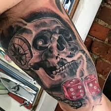 nautical skull and dice by black at deez tattoos in