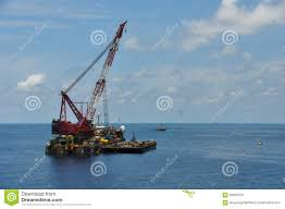 Crane Barge Lifting Heavy Cargo Or Heavy Lift In Offshore Oil And