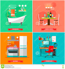 home interior vector illustration in flat style house design with