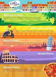 cuisine et voyage bannières de voyage vectoriel colorés avec des italiens la