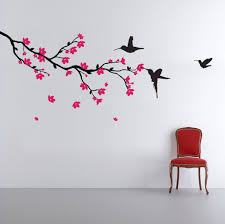 Tree Wall Art Decals Vinyl Sticker Branch With Blossom And Birds Wall Sticker Vinyl Wall Stickers