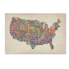 map vi trademark global michael tompsett us cities text map vi canvas