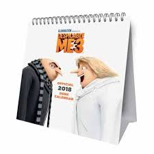 2018 easel desk calendar despicable me 3 official desk easel 2018 calendar danilo