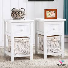 bedside table amazon amazon com pair of retro white chic nightstand end side bedside