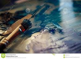 blue paints and pallet stock photo image 65043718