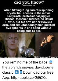 David Bowie Labyrinth Meme - did did know know when filming king jareth s spinning crystal