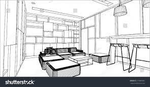 sketch design library interior vector stock vector 219982987
