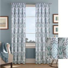 Better Homes Curtains Better Homes And Gardens Damask Scroll Curtain Panel Blue