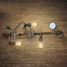 3 Light Sconce Industrial Wall Sconce With Gear Pressure Gauge And Tap Accent 3
