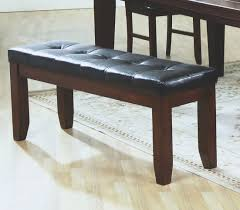 amazon com coaster bench with a leather look seat 48 inch dark