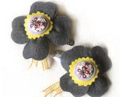 Flower Clips For Hair - gray hair flower etsy
