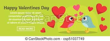 happy valentines day banner happy valentines day banner horizontal concept flat eps vector