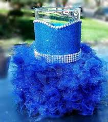 blue centerpieces wedding centerpiece glitter vase bridal bouquet holder