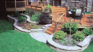retaining wall landscaping around deck in rockford il r e marshall
