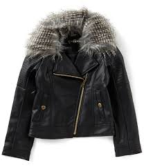 jessica simpson big girls 7 16 faux fur trimmed faux leather