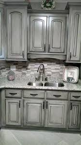 How To Antique Kitchen Cabinets With White Paint Valspar Aspen Gray Glazed In Black Gorgeous Work Of The