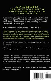 android app development u0026 programming guide learn in a day