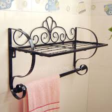 Wrought Iron Bathroom Shelves Black Rustic Wrought Iron Bathroom Shelves Hotel Towel Bars