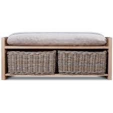 garden trading oxford storage bench oak with rattan baskets