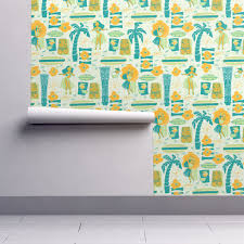 mid century tiki wallpaper by aimee roostery home decor
