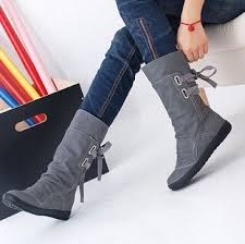 womens boots fashion footwear mid calf solid flats winter boots warm plush boots boots