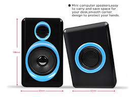 Small Desk Speakers Black Wired Pc Speakers 2 0 Small Speakers For Desktop Computer