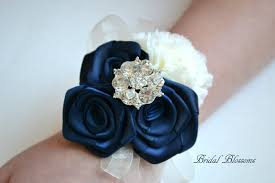 navy blue corsage seller navy ivory chiffon ribbon flower wrist corsage