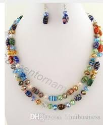 crystal bead necklace jewelry images 2018 1 5m long millefiori glass with 10mm crystal beads knotted jpg