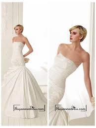 amazing satin mermaid strapless neckline drop waist wedding dress