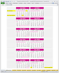 Html5 Spreadsheet Georges Excel Calendar Year 2016 Spreadsheet U2013 Buy Excel Templates