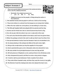 subject pronouns   pronoun worksheets with about this worksheet from kreadercom