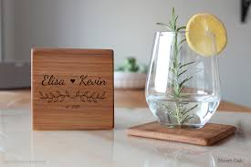 Engagement Gift From Parents Bridal Shower Gift Personalized Wood Coasters Set Custom
