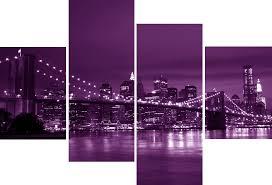 large 4 panel set new york city bridge purple canvas pictures large 4 panel set new york city bridge purple canvas pictures modern wall art