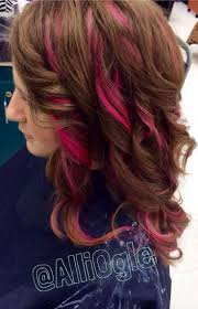 pink highlights in brown hair google search for someday