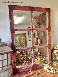 wood red wall mirror industrial metal rustic distressed antique