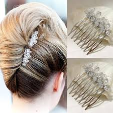 wedding hair combs bridal hair combs small simple two peices cystal glass