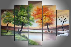 100 hand painted four seasons trees abstract oil painting wall
