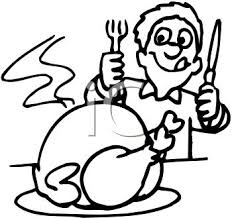 turkey dinner clipart black and white
